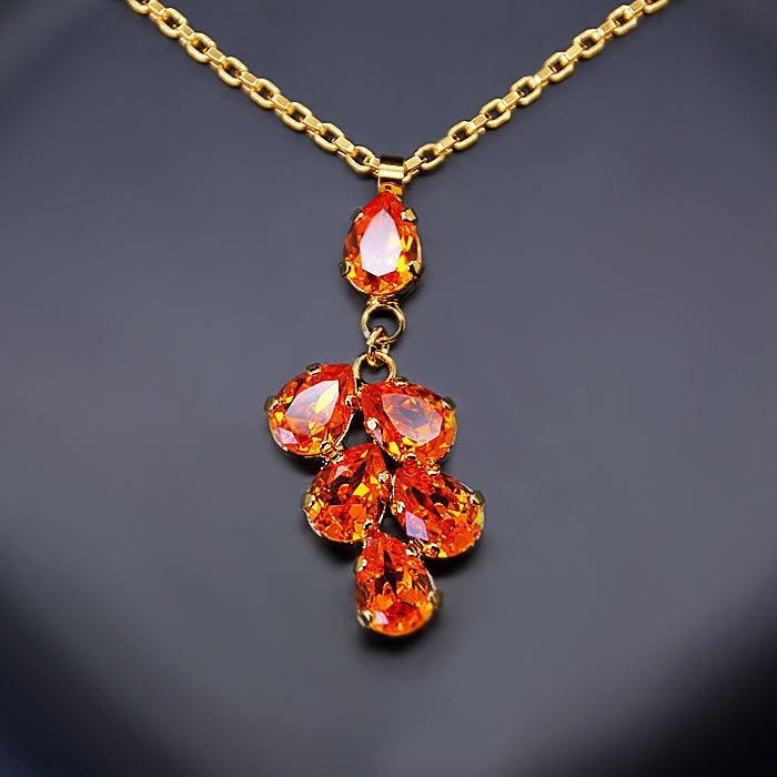 Diamond Sky Pendant Amber II Tangerine With Swarovski Crystals