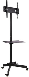 Techly Trolley Floor Stand With Shelf 23 -55'' Black