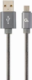 Gembird Premium USB To Micro USB Spiral Metal Grey 1m