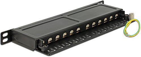 "Delock 10"" Patchpanel 12-Port CAT6A 0.5 U Black"