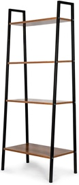 GoodHome Bookcase 4 Shelves Black/Brown