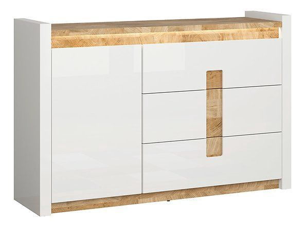 Kummut Black Red White Alameda 41x147x96.5cm White Oak