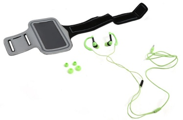 "Ausinės Platinet 2in1 In-Ear Sport Stereo Headset + Armband Smarthone Case 5"" Max Green"