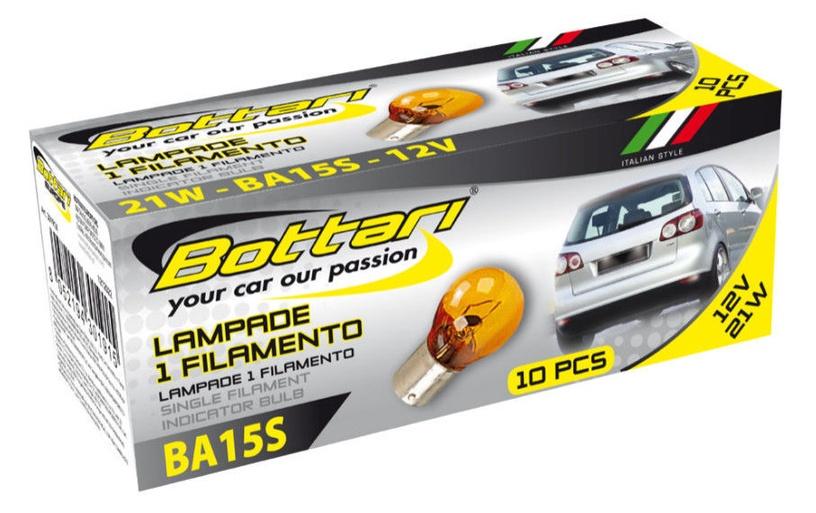 Автомобильная лампочка Bottari 12V 21W BA15S Orange 10pcs 30191X