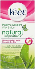 Vaško juostelės Veet Natural Inspirations Legs & Body Wax Strips 12pcs Aloe Vera