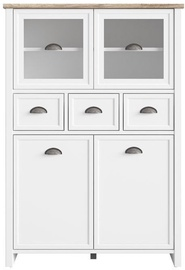 Black Red White Cannet Glass-Door Cabinet White