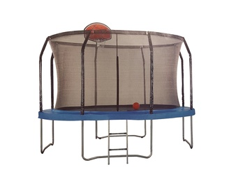 """Batutas 12"""" 366 cm skersmens, su tinklu kopėčiomis ir krepšinio lenta"""
