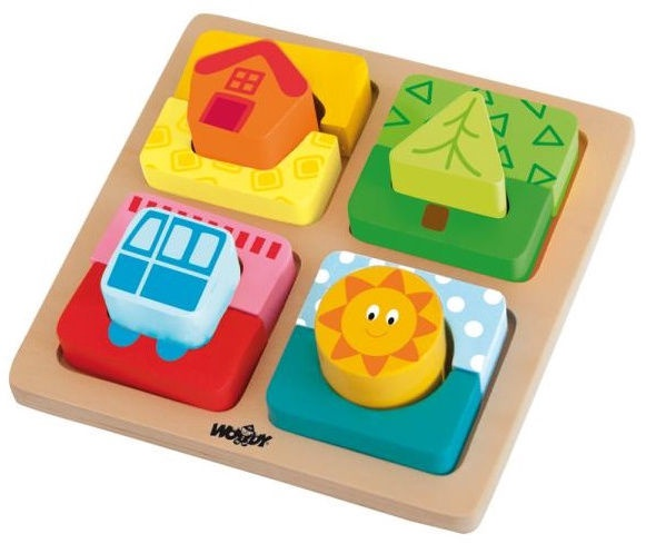 Woodyland Shape Sorting Puzzle House & Fun 12pcs 91145