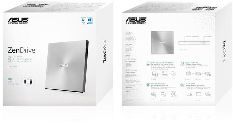 Asus ZenDrive U9M External DVD Writer Silver