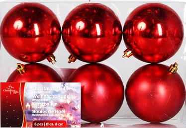 Verners Christmas Balls Red 8cm 6pcs