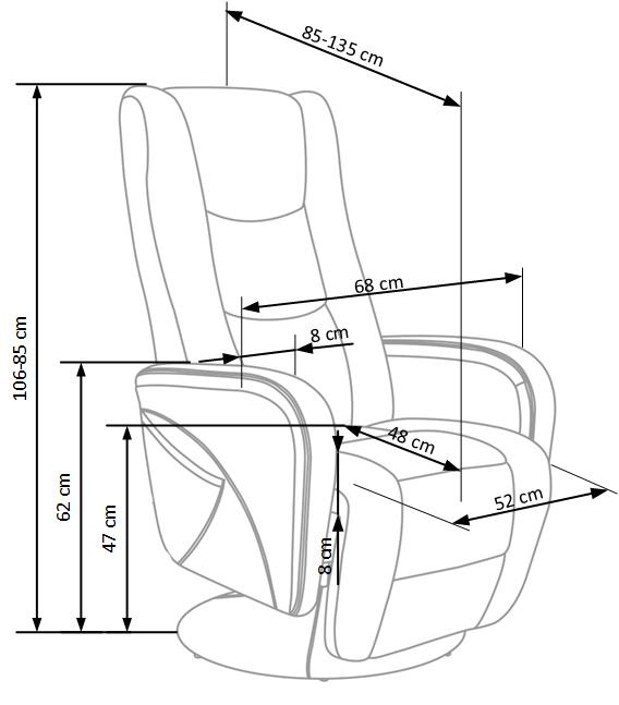 Fotelis Halmar Pulsar Cappucino, 85x68x85 cm