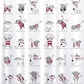 Vannas istabas aizkars Tatkraft Funny Cats, daudzkrāsains, 1800 mm x 1800 mm