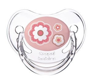 Canpol Babies Newborn Baby Orthodontic Silicone Soother Pink Flowers