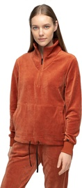Audimas Cotton Velour Half-Zip Sweatshirt Auburn S
