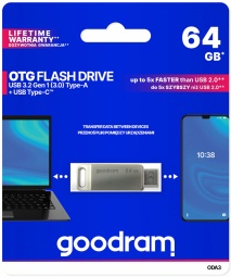 USB-накопитель Goodram ODA3, серебристый, 64 GB