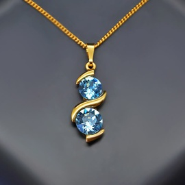 Diamond Sky Pendant Milky Way Aquamarine Blue With Swarovski Crystals