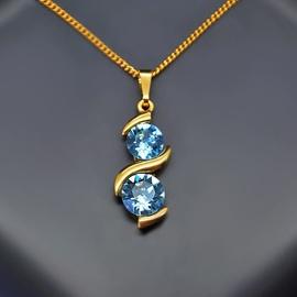 Diamond Sky Pendant Milky Way Aquamarine Blue With Swarovski Crystals