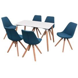 Обеденный комплект VLX 7 Piece Set 243572, белый/синий