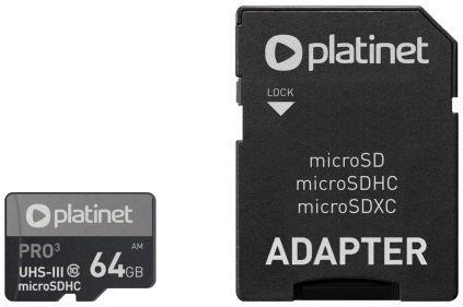 Карта памяти Platinet Pro microSDHC 64GB UHS-I Class 10