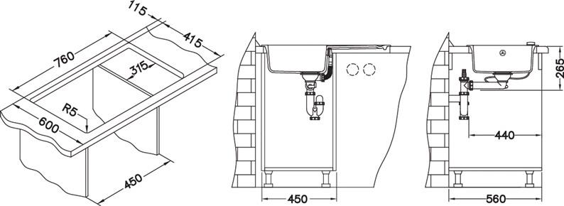 Раковина Alveus Falcon 11, 780 мм x 435 мм x 160 мм