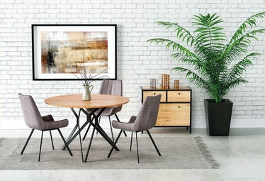 Pusdienu galds Halmar Pixel 2, melna/ozola, 1200x1200x760mm