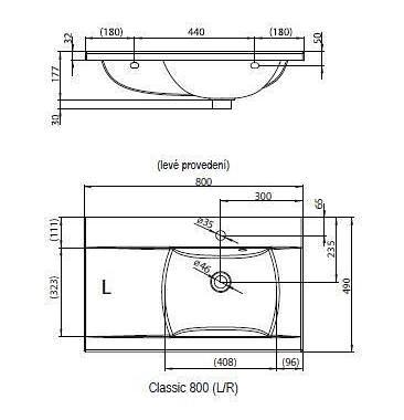 Praustuvas Classic 800 R baltas su skyle maišytuvui
