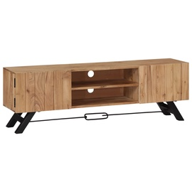TV-laud VLX Solid Acacia Wood 247971, pruun/must, 300 mm x 1400 mm x 450 mm