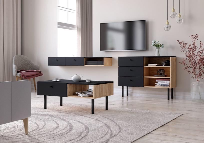 Kafijas galdiņš Vivaldi Meble Tulia, melna/ozola, 900x516x380 mm