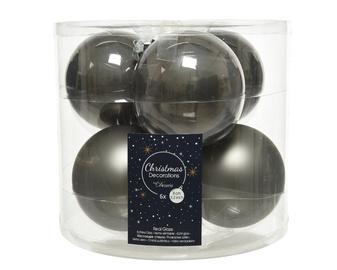 Елочная игрушка Decoris 140678, серый, 80 мм, 6 шт.