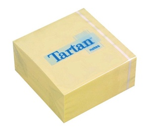 3M Tartan Sticky Notes Cube 400pcs Yellow