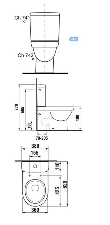 Туалет Jika Tigo H8242160000001, 360 мм x 620 мм