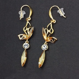 Diamond Sky Earrings With Crystals From Swarowski Siluna II Golden Shadow