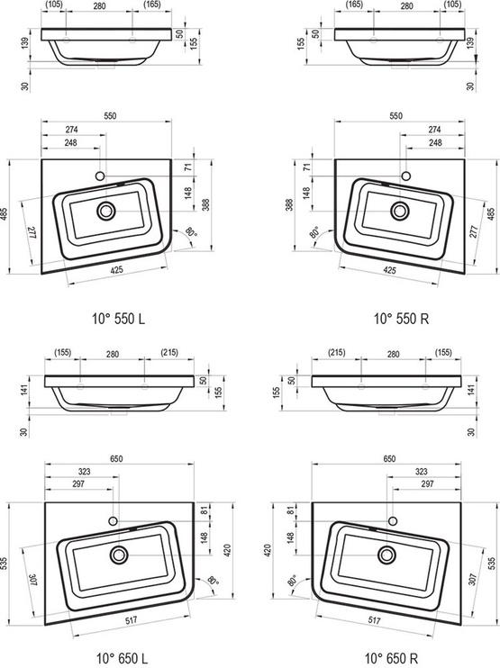 Kampinis praustuvas Ravak, 10° 550 R, su skyle maišytuvui 55 x 48,5 x 13,9 cm