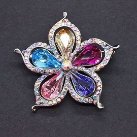 Diamond Sky Brooch Rainbow Flower With Swarovski Crystals