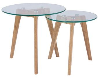 Kafijas galdiņš Signal Meble Scandinavian Oslo S2 Transparent/Oak, 500x500x450 mm