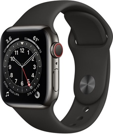 Išmanusis laikrodis Apple Watch Series 6 GPS LTE + Cellular, 40mm Stainless Steel Black Sport Band, juoda