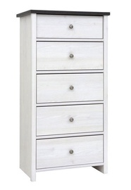 Black Red White Porto III Drawer White Larch