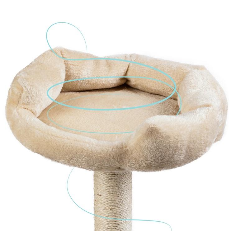 Когтеточка для кошек с мягким лежаком, 70см, бежевая
