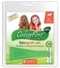 Средство от паразитов Ekoprom GreenFort Biospot-on 10-25kg 1.5ml