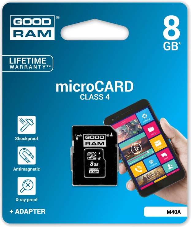 GoodRam M40A 8GB microSDHC Class 4 + Adapter