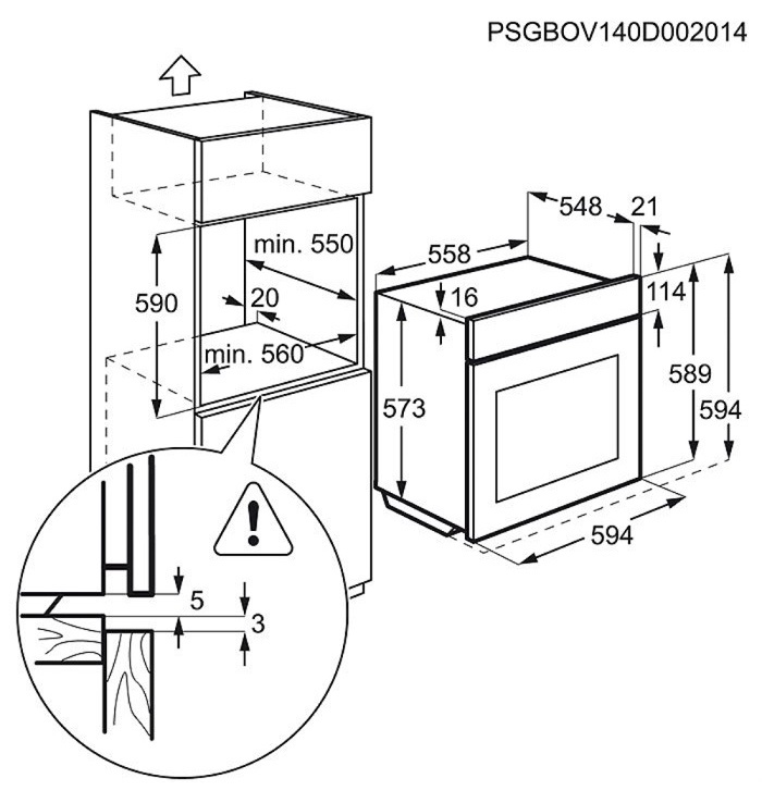 Iebūvējamā cepeškrāsns Electrolux EOC5654AOX 72l, 2750W