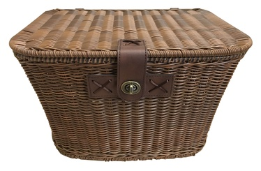 Flinger Wicker Basket With Cover Dark Brown