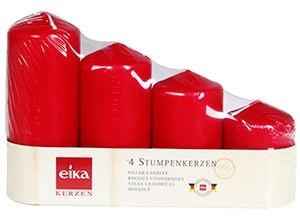 Eika Christmas Advent Candles Red 4pcs 229887