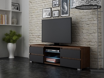 ТВ стол Pro Meble Milano 150 With Light Walnut/Black, 1500x350x420 мм