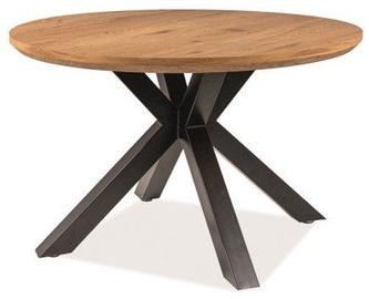 Обеденный стол Signal Meble Loft Ritmo, черный/дубовый, 1200x1200x750мм