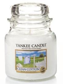 Aromātiskā svece Yankee Candle Classic Medium Jar Clean Cotton, 411 g, 65 h