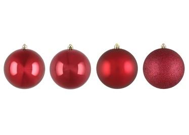Ziemassvētku eglītes rotaļlieta, sarkana, 100 mm, 4 gab.