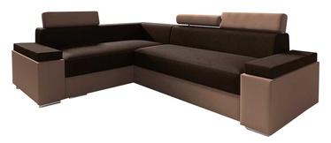 Stūra dīvāns Idzczak Meble Chester Mini Dark Brown/Brown, kreisais, 252 x 185 x 95 cm