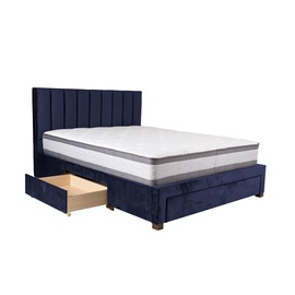 Home4you Grace Bed + Harmony Top Mattress 160x200cm Blue