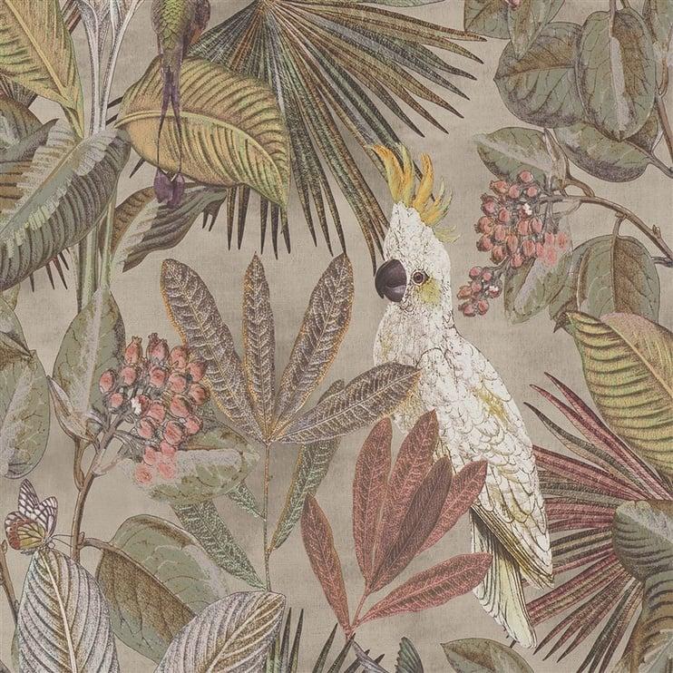 Tapetas flizelino pagrindu, BN, 220121, Panthera, rusvas, su papūgomis